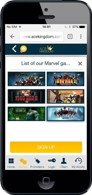 AceKingdom Casino Marvel Games on Mobile