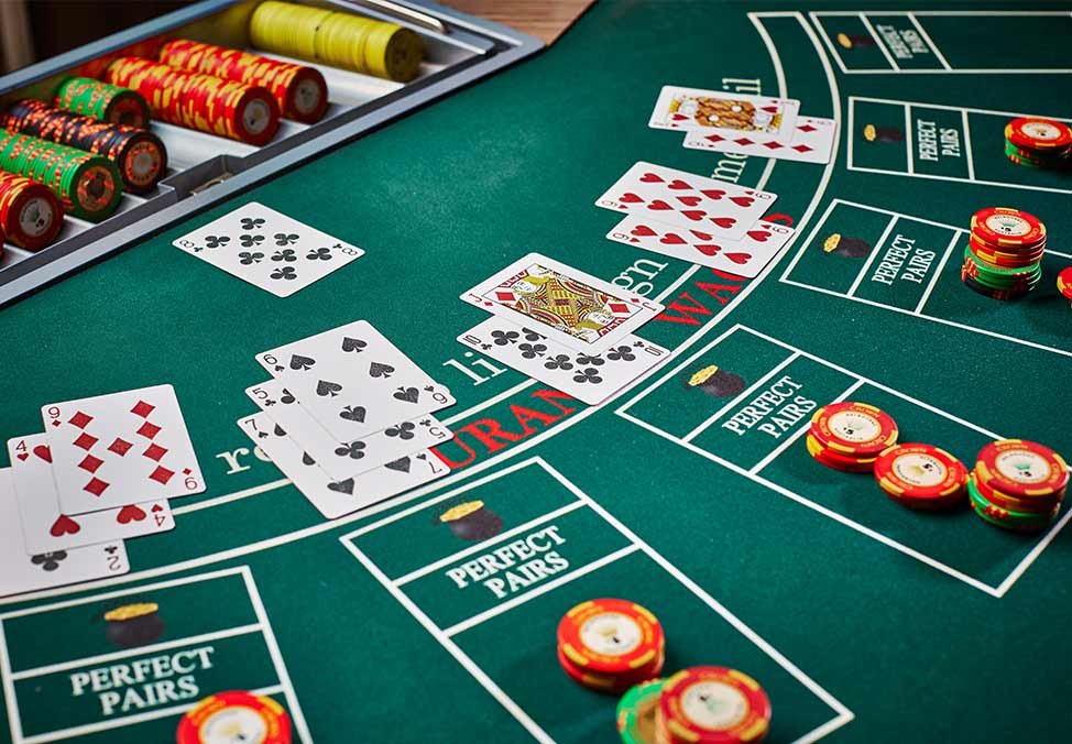 Blackjack Table Chips Cards
