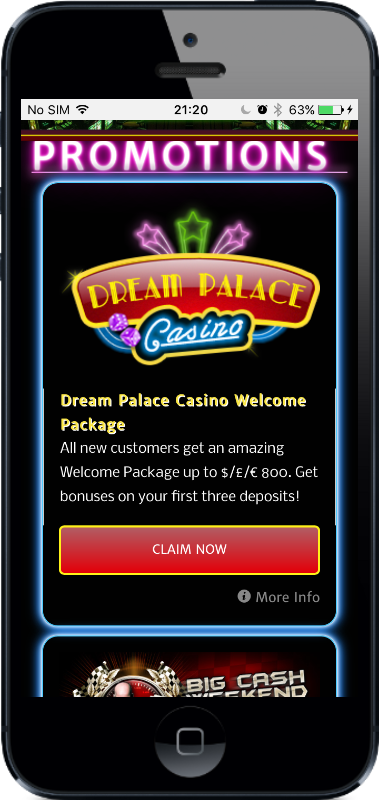 Dream Palace Casino Promotions on Mobile