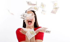 Money Falling in air Woman Smiling