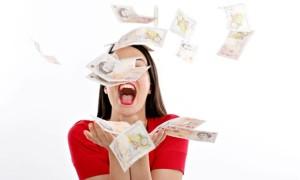 Money Falling in air Woman Smiling