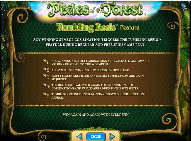 Pixies of the Forest IGT Slot - Tumbling Reels Feature Description