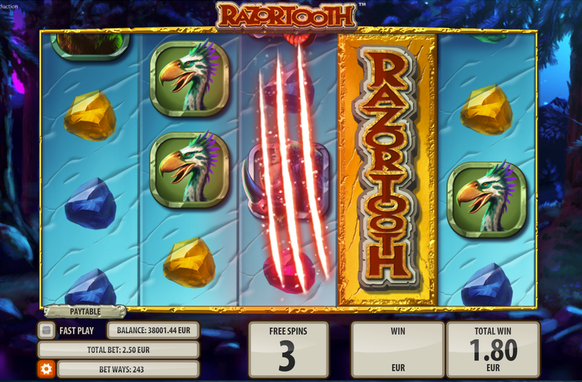 Razortooth Slot by Quickspin - Triggering Random Wilds