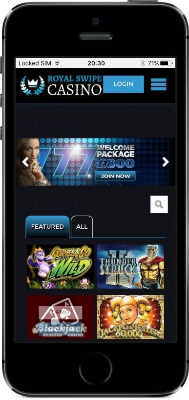 Royal Swipe Casino Lobby on Mobile