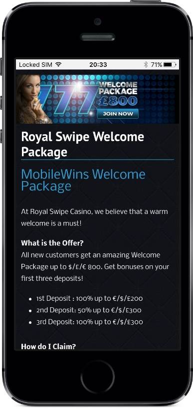 Royal Swipe Casino Welcome Bonus on Mobile