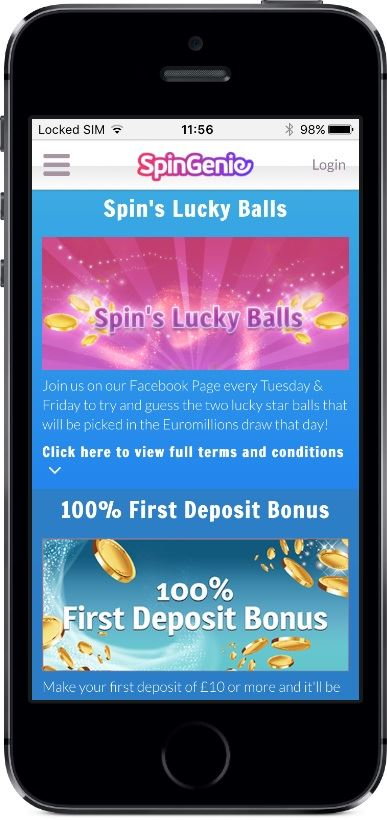Spin Genie Casino Promotions on Mobile