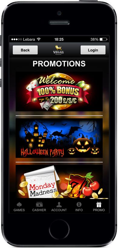 Vegas Paradise Promos Page Mobile Screenshot